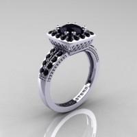 Renaissance Classic 10K White Gold 1.0 Carat Black Diamond Engagement Ring R220-10KWGBD