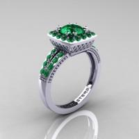 Renaissance Classic 10K White Gold 1.0 Carat Emerald Engagement Ring R220-10KWGEM