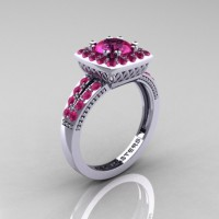 Renaissance Classic 10K White Gold 1.0 Carat Pink Sapphire Engagement Ring R220-10KWGPS