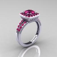 Renaissance Classic 10K White Gold 1.23 Carat Princess Pink Sapphire Engagement Ring R220P-10KWGPS