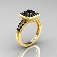 Renaissance Classic 18K Yellow Gold 1.23 Carat Princess Black Diamond Engagement Ring R220P-18KYGBD