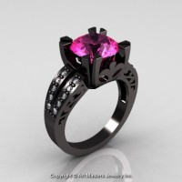 Modern Vintage 14K Black Gold 3.0 Ct Pink Sapphire Diamond Solitaire Ring R102-14KBGDPS