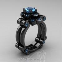 Caravaggio 14K Black Gold 1.0 Ct Blue Topaz Engagement Ring Wedding Band Set R606S-14KBGBT