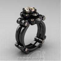 Caravaggio 14K Black Gold 1.0 Ct Champagne Diamond Engagement Ring Wedding Band Set R606S-14KBGCHD