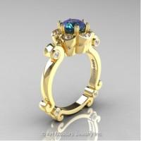 Caravaggio 14K Yellow Gold 1.0 Ct Alexandrite Diamond Engagement Ring R606-14KYGDAL
