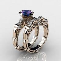 Art Masters Caravaggio 14K Rose Gold 1.0 Ct Chrysoberyl Alexandrite Diamond Engagement Ring Wedding Band Set R623S-14KRGDAL