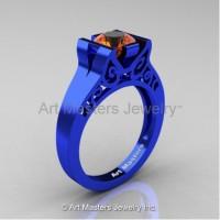 Modern Art Deco 14K Blue Gold 1.0 Ct Orange Sapphire Engagement Ring R36N-14KBLGOS