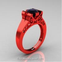 Modern Art Deco 14K Red Gold 1.0 Ct Black Diamond Engagement Ring R36N-14KREGBD