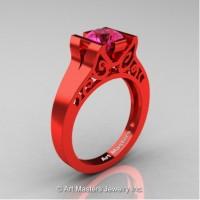 Modern Art Deco 14K Red Gold 1.0 Ct Pink Sapphire Engagement Ring R36N-14KREGPS
