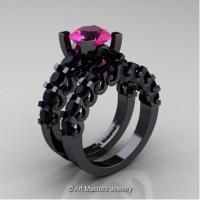 Modern Vintage 14K Black Gold 3.0 Carat Rose Ruby Black Diamond Designer Wedding Ring Bridal Set R142S-14KBGBDRR