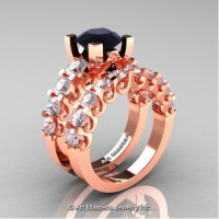 Modern Vintage 14K Rose Gold 3.0 Carat Black Diamond White Sapphire Designer Wedding Ring Bridal Set R142S-14KRGWSBD