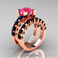 Modern Vintage 14K Rose Gold 3.0 Carat Pink Sapphire Black Diamond Designer Wedding Ring Bridal Set R142S-14KRGBDPS