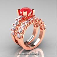 Modern Vintage 14K Rose Gold 3.0 Carat Ruby White Sapphire Designer Wedding Ring Bridal Set R142S-14KRGWSR