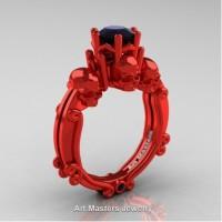 Art Masters Three Skull 14K Red Gold 1.0 Ct Black Diamond Engagement Ring R513-14KREGBD