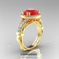 Caravaggio Italian 14K Yellow Gold 3.0 Ct Ruby Diamond Engagement Ring Wedding Ring R620-14KYGDR