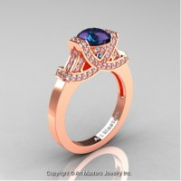 Classic Armenian 14K Rose Gold 1.0 Ct Chrysoberyl Alexandrite Diamond Engagement Ring R283-14KRGDAL