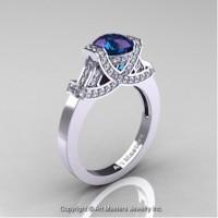 Classic Armenian 14K White Gold 1.0 Ct Chrysoberyl Alexandrite Diamond Engagement Ring R283-14KWGDAL