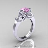 Classic Armenian 14K White Gold 1.0 Ct Light Pink Sapphire Diamond Engagement Ring R283-14KWGDLPS