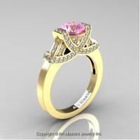 Classic Armenian 14K Yellow Gold 1.0 Ct Light Pink Sapphire Diamond Engagement Ring R283-14KYGDLPS