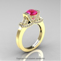 Classic Armenian 14K Yellow Gold 1.0 Ct Pink Sapphire Diamond Engagement Ring R283-14KYGDPS