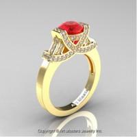 Classic Armenian 14K Yellow Gold 1.0 Ct Ruby Diamond Engagement Ring R283-14KYGDR