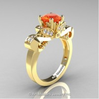 Classic 14K Yellow Gold 1.0 Ct Orange Sapphire and White Diamond Solitaire Engagement Ring R323-14KYGDOS