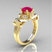 Classic 14K Yellow Gold 1.0 Ct Rose Ruby White Diamond Solitaire Engagement Ring R323-14KYGDRR