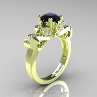 Classic 18K Green Gold 1.0 Ct Black and White Diamond Solitaire Engagement Ring R323-18KGRGDBD