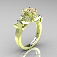 Classic 18K Green Gold 1.0 Ct Champagne and White Diamond Solitaire Engagement Ring R323-18KGRGDCHD