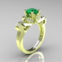 Classic 18K Green Gold 1.0 Ct Emerald Diamond Solitaire Engagement Ring R323-18KGRGDEM