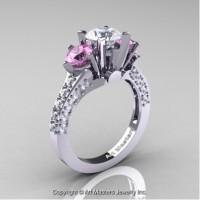 Classic French 14K White Gold Three Stone 2.0 Ct CZ Light Pink Sapphire Diamond Solitaire Ring R421-14KWGDLPSCZ