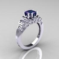 Classic French 14K White Gold 1.23 CT Princess Alexandrite Diamond Engagement Ring R216P-14KWGDAL