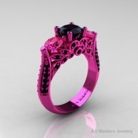 Classic 14K Pink Gold Three Stone Black Diamond Pink Sapphire Solitaire Engagement Ring Wedding Ring R200-14KPGPSBD