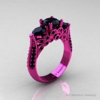 Classic 14K Pink Gold Three Stone Black Diamond Solitaire Engagement Ring Wedding Ring R200-14KPGBD