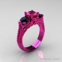 Classic 14K Pink Gold Three Stone Pink Sapphire Black Diamond Solitaire Engagement Ring Wedding Ring R200-14KPGBDPS