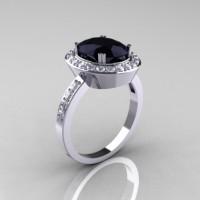 Classic 950 Platinum Gold 3.0 CT Oval Black and White Diamond Engagement Ring R72-PLATDBD