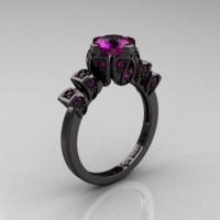 Edwardian 14K Black Gold 1.0 CT Amethyst Ballerina Engagement Ring R241-14KBGAM