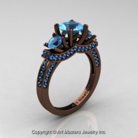 Exclusive French 14K Chocolate Brown Gold Three Stone Blue Topaz Engagement Ring R182-14KBRGBT