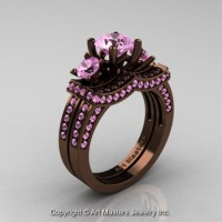 Exclusive French 14K Chocolate Brown Gold Three Stone Light Pink Sapphire Engagement Ring Wedding Band Set R182S-14KBRGLPS