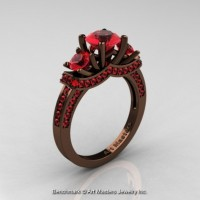 Exclusive French 14K Chocolate Brown Gold Three Stone Rubies Engagement Ring R182-14KBRGR