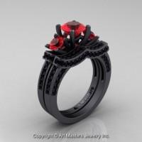 Exclusive 14K Matte Black Gold Three Stone Ruby Black Diamond Engagement Ring Wedding Band Bridal Set R182S-14KMBGBDR