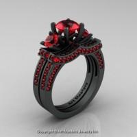 Exclusive 14K Matte Black Gold Three Stone Rubies Engagement Ring Wedding Band Bridal Set R182S-14KMBGR