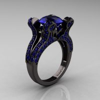 French 14K Black Gold 3.0 CT Blue Sapphire Pisces Wedding Ring Engagement Ring Y228-14KBGBS