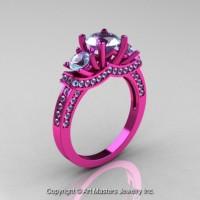French 14K Pink Gold Three Stone Aquamarine Wedding Ring Engagement Ring R182-14KPGAQ