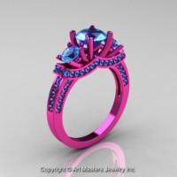 French 14K Pink Gold Three Stone Blue Topaz Wedding Ring Engagement Ring R182-14KPGBT