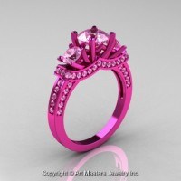 French 14K Pink Gold Three Stone Light Pink Sapphire Wedding Ring Engagement Ring R182-14KPGLPS