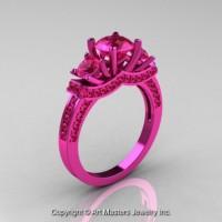 French 14K Pink Gold Three Stone Pink Sapphire Wedding Ring Engagement Ring R182-14KPGPS