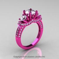 French 14K Pink Gold Three Stone White Sapphire Diamond Wedding Ring Engagement Ring R182-14KPGDWS