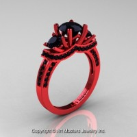 French 14K Red Gold Three Stone Black Diamond Engagement Ring R182-14KRGBD