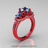 French 14K Red Gold Three Stone Blue Topaz Diamond Engagement Ring R182-14KRGDBT